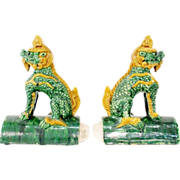 """PAIR  Antique Chinese """"Foo Dogs"""" Roof Tiles."""
