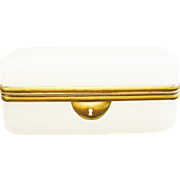 REDUCED Pretty Antique French White Opaline Casket Box
