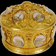 "REDUCED Magnificent Antique Bronze Oval Casket Hinged Box ""16 Grand Tour Miniatures"""