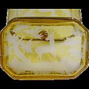 "REDUCED Antique Bohemian Golden Amber Casket Hinged Box""Elks, Deer, Quail, Tree Etc"""