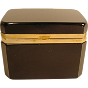 "Antique French Black Opaline Hinged Box ""LARGE BOX"""
