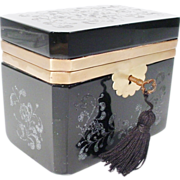 Magnificent Antique French Black Opaline Casket Hinged Box