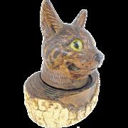 "SALE Folk Art ""Glass Eyes"" Cat Inkwell w Pen Holder"
