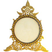 "Antique French Bronze Jeweled Table Top Frame ""Beautiful Amber Paste Gems Circle the Phot"