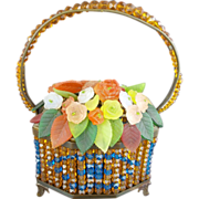 "Czech Glass Flower Basket ""RARE"" Beaded Basket w Handle"