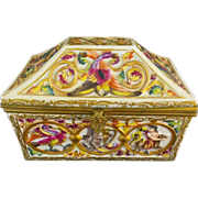 """Rare Capodimonte Porcelain Dome Top Box""""Exotic Birds, Donkey, Tiger and Figures"""""""