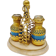 1880  Blue Opaline Scent Caddy with Two Blue Opaline Scent Bottle Draped in Gilt Ormolu ...
