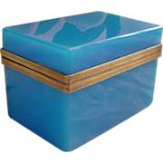"SOLD Antique French Blue Opaline Casket Hinged Box ""Greek Key Mounts"""