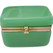 REDUCED Sunning Antique French Green Opaline Hinged Box