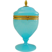 """Antique French Blue Opaline Hinged Box  """"BEAUTIFUL"""""""