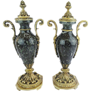 "Antique French Marble &  Bronze Mounted Covered Urns ""EXQUISITE"""