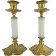 "SALE Antique Onyx and Bronze Candlestick""PAIR"""