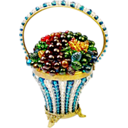 "1920 Czech Blue and Crystal Glass Fruit Basket ""RARE COLOR"""