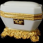 """Antique Baccarat White Opaline Casket """"MAGNIFICENT"""""""