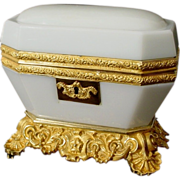 "REDUCED Antique Baccarat White Opaline Casket ""MAGNIFICENT"""