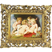 SOLD Antique  Hand painted  Putti s & Lamb Porcelain w Period Frame RARE & WONDERFUL