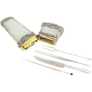 "SALE Antique 18C  Chinese Silver Jade Etui ""Original Fitted Silver Etui"" GRANDEST"