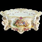 "21""  Antique Porcelain Center Piece w Putti's and Pastoral Scenes ""MASSIVE MASTERPIEC"