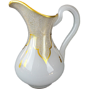 """REDUCED Antique French White Opaline Pitcher Draped in Gilding Lace & Tassels """"EXQUIS"""