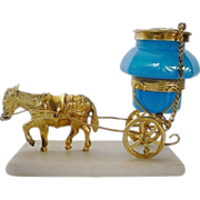 """Antique French Opaline Ink Well Goat Cart   """" A PALAIS ROYAL TREASURE"""""""