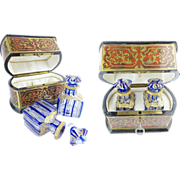 "Antique Boulle Scent Caddy Box ""Pair Baccarat Blue Cut to Clear Scent Bottles"""