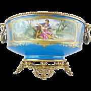 "16"" Antique Porcelain Center Bowl ""Exquisite Bronze Ormolu"""