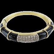 SALE RL Magnificent Diamond and Onyx 750 18KARAT Yellow Gold Bracelet