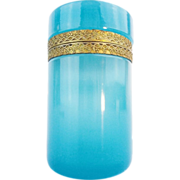 """REDUCED Antique French Turquoise Opaline Hinged Box """"GREAT COLOR"""""""