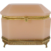 Magnificent Antique Pink Opaline Casket Hinged Box