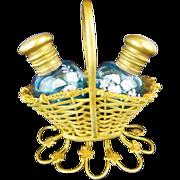 """Napoleon  III Scent Basket  """"  Twin  BLUE Scent Bottles"""