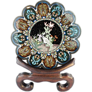"18"" Antique Japanese Cloisonné  Scalloped Charger Bowl ""MEIJA PERIOD"""