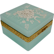 "SOLD Pretty Antique Aqua Seafoam Opaline Hinged Box ""White Applied Flowers """