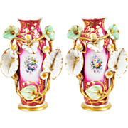 "Antique  Porcelain ""Old Paris"" Vases EXQUISITE"