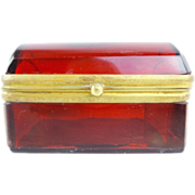 Antique Bohemian Red Dome Top Miniature Hinged Box