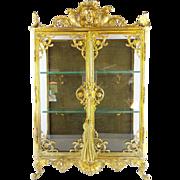 "SALE 21 ½"" Antique French Miniature Vitrine Curio Cabinet  ""GRANDEST"""