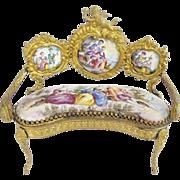 "SALE Antique Viennese Enamel Putti Miniature Settee ""EXQUISITE """