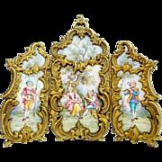 "SOLD LAYAWAY. Antique Austrian Enamel Bronze Miniature Three Section Screen ""SUPERIOR Qua"