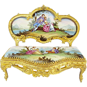 "SALE Antique Viennese Enamel Miniature Settee  ""Superior Quality"""