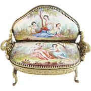 "Antique Viennese Enamel Miniature Settee ""Pastoral Scenes & Cherub"""