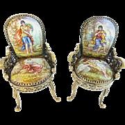 """SALE Antique Viennese Enamel Miniature Chairs """"SWAN"""""""