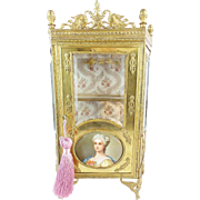 "SOLD LAYAWAY Antique Miniature Gilt Bronze Vitrine""Beautiful Porcelain Miniature"""