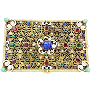 Antique Austrian Bronze Enamel Jeweled Hinged Box