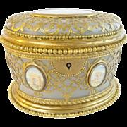 """REDUCED Palais Royal Opaline Scent Casket """" Fabulous Gilt Ormolu Lace"""""""