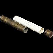 Antique Spanish Document Metal Cylinder W  1869 Spanish Documents