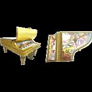 "7"" Antique Austrian Enamel Musical Piano Harpsichord"