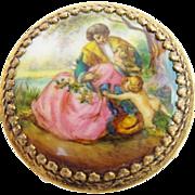 "Antique Austria Enamel Miniature Round Table/ Stool  "" Pastoral Scenes w/ Putti"""