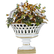 REDUCED Jane Hutcheson Enamel Flowers in a Lovely White  Porcelain Basket