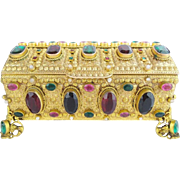 "SOLD LAYAWAY. Magnificent Antique Austrian Jeweled Casket Hinged Box ""GIANT GEMS"""
