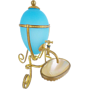 REDUCED Antique French Blue Opaline Perfume Falcon  with a Mother of Pearl Dish