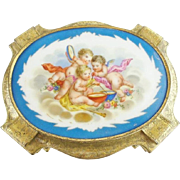 "Antique French Gilt Bronze Hinged Box ""Three Cherubs Porcelain Plaque"""
